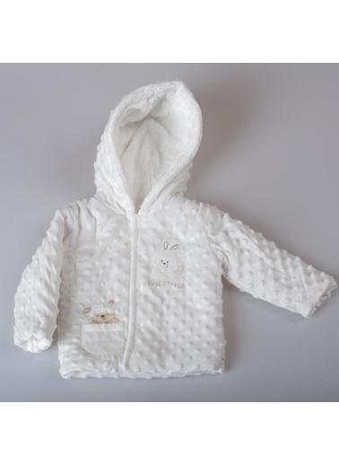 POKY Yeni Sezon Kız Bebek Tavşan Nakışlı Çıtçıtlı Kapüşonlu Nohut Mont-Buude6698 Beyaz